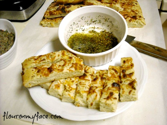 sourdough, focaccia, olive oil dipping sauce,