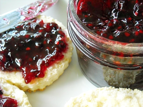 Homemade Blackberry Jam on a homemade biscuit