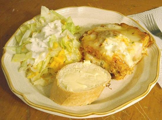 Sausage Lasagna, salad and bread