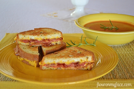 National Grilled Cheese Month | Rosemary Bacon Tomato Grilled Cheese ...