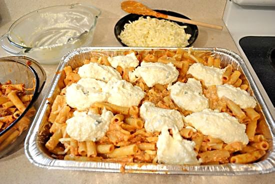 Baked Ziti dot ricotta on top