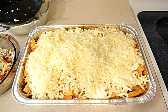 Baked Ziti add Mozzarella on top