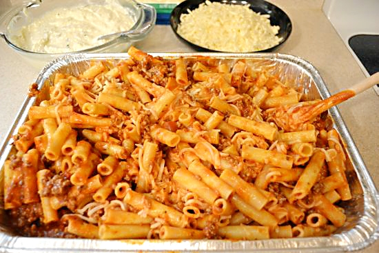 Baked Ziti stir in the cheese