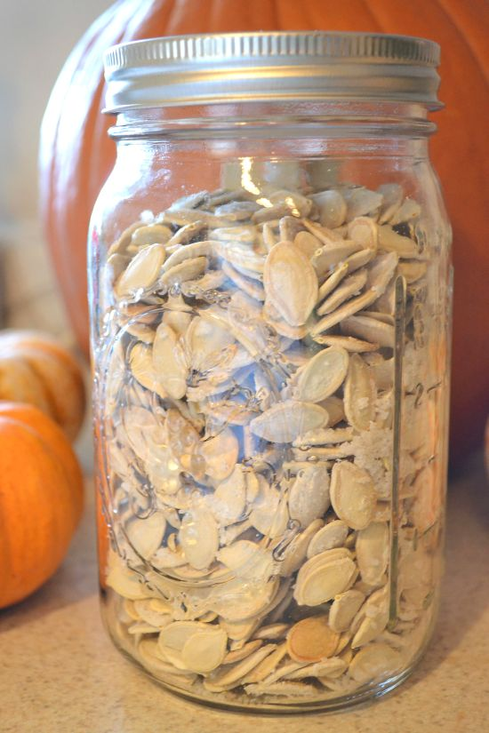 Roasted Pumpkin Seeds in a Mason Jar