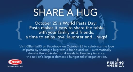 Barilla Share a Hug On October 25