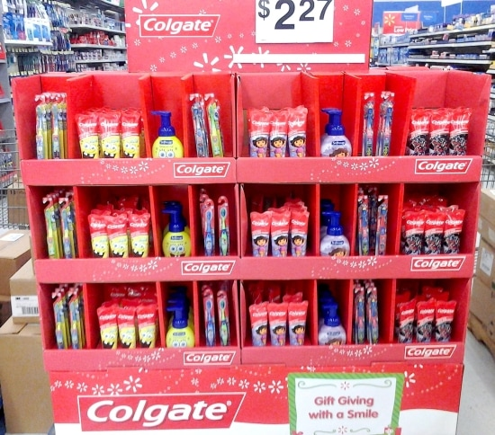 Colgate Dora and Spongebob tooth brush and tooth paste holiday display