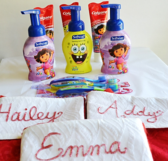 Christmas idea, Personalized stockings, tooth paste, new tooth brush, #HolidaySmiles with Colgate