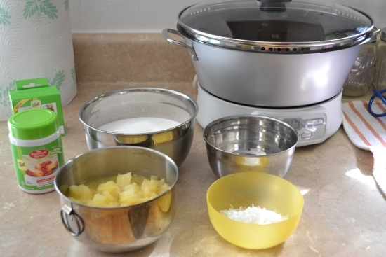 pineapple, coconut water, Shredded coconut, sugar and pectin are pictured here