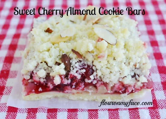 Sweet Cherry Almond Cookie Bars
