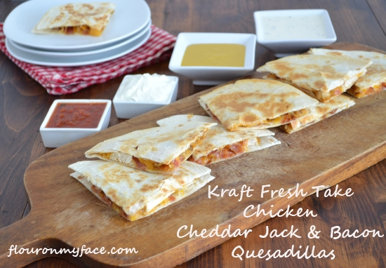 Chicken Cheddar Jack and Bacon Quesadillas Recipe #KraftFreshTake | Flour On My Face