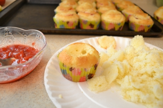 hollowed cupcake, removed cupcake center, filling