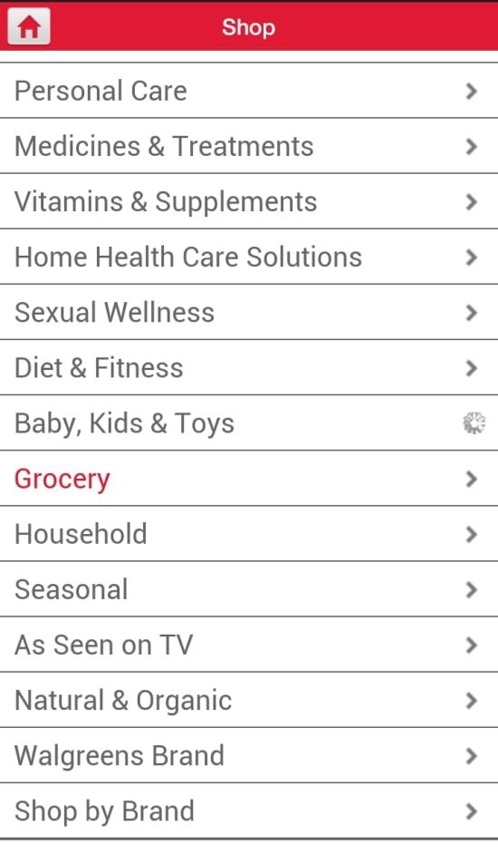 Walgreens List View
