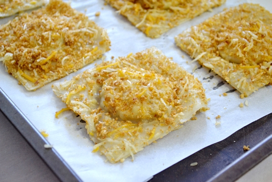 Bread baked ravioli