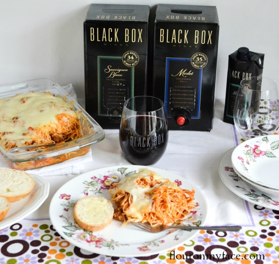 black box wine, spaghetti dinner, red wine,