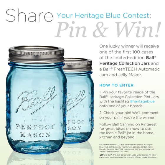 Ball Heritage Blue Jars, Pinterest, Contest
