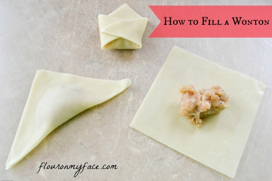 how, to, fill, a won ton, wrapper, wonton chicken soup,