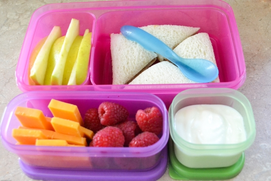 healthy lunch ideas, bento box lunch, pb&j, fresh fruit, yogurt