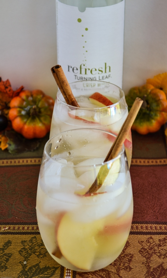 Celebrate the Fall season with a glass of Turning Leaf Refresh Crisp White Moscato wine.