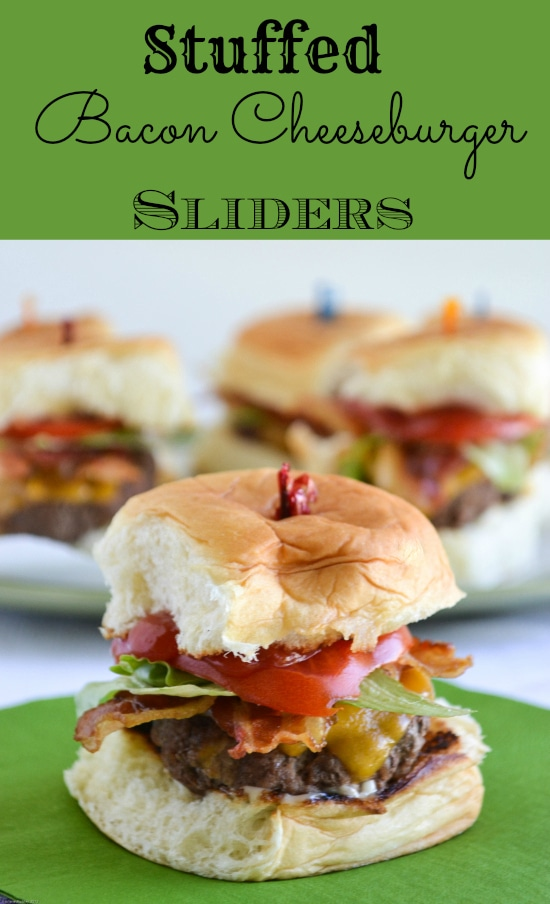 Stuffed Bacon Cheeseburger Slider recipe via flouronmyface.com