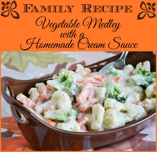 progressive dinner recipe, vegetable side dish recipe, vegetable medley, homemade cream sauce recipe