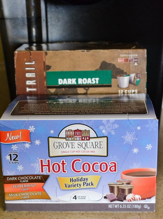 holiday assortment, k-cup cocoa, peppermint flavor, hot chocolate k-cups