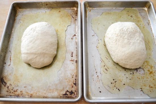 divided focaccia dough, second rise, focaccia dough, baking focaccia, homemade focaccia